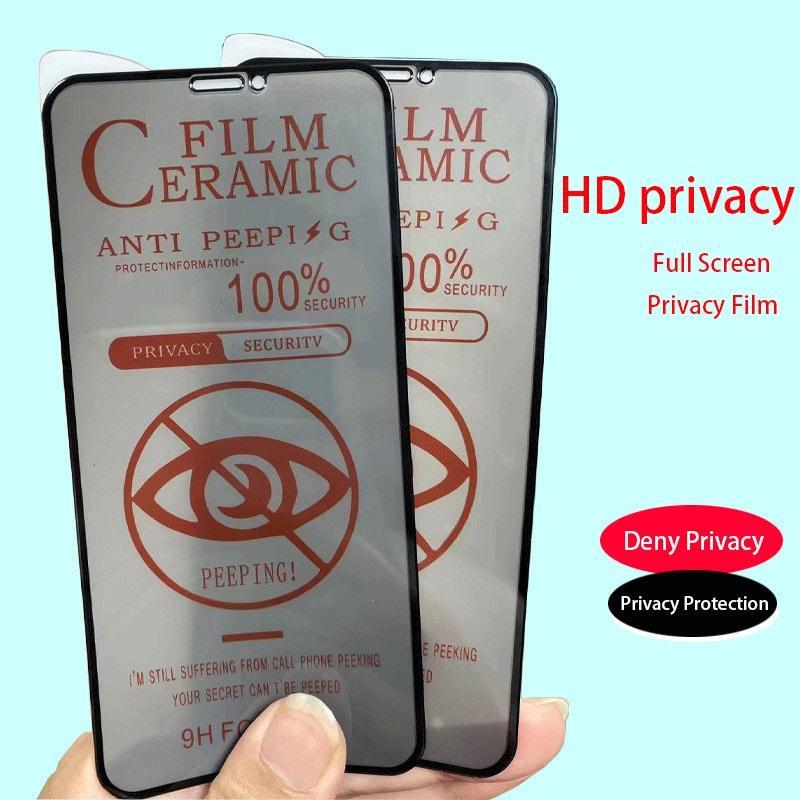 Protetor de tela de cerâmica Filme macio Anti-Peeping 9h Capa completa para iPhone 12 11 Pro Max Xs XR x 8 mais não vidro temperado