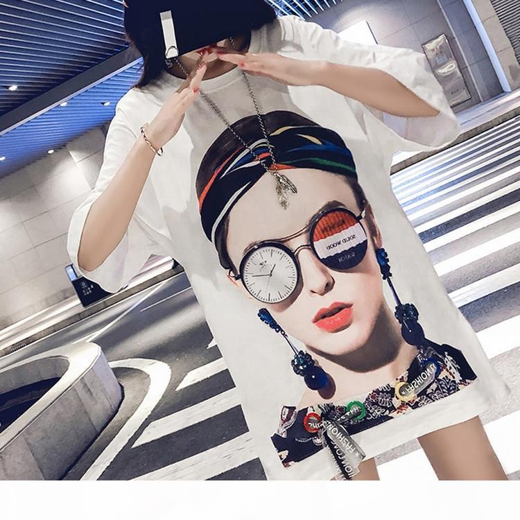European station long white t-shirt female student short sleeve 2018 summer new loose Korean version of the shirt