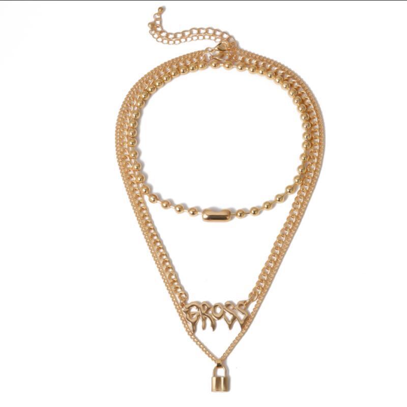 Cola de cobre de lujo con cerradura collar de bloqueo femenino multicapa cadena de clavícula accesorios femeninos regalo social