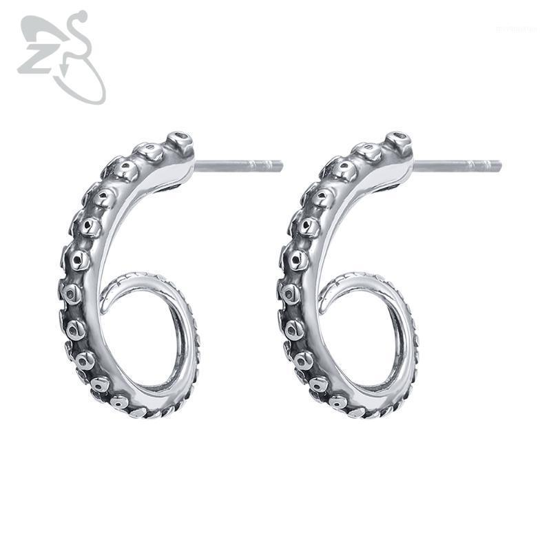ZS Punk Style 316L Stainless Steel Stud Earrings 2 Pcs Octopus Tentacle Earring for Men 2020 Hot Sale Ear Piercing Jewelry Gifts1