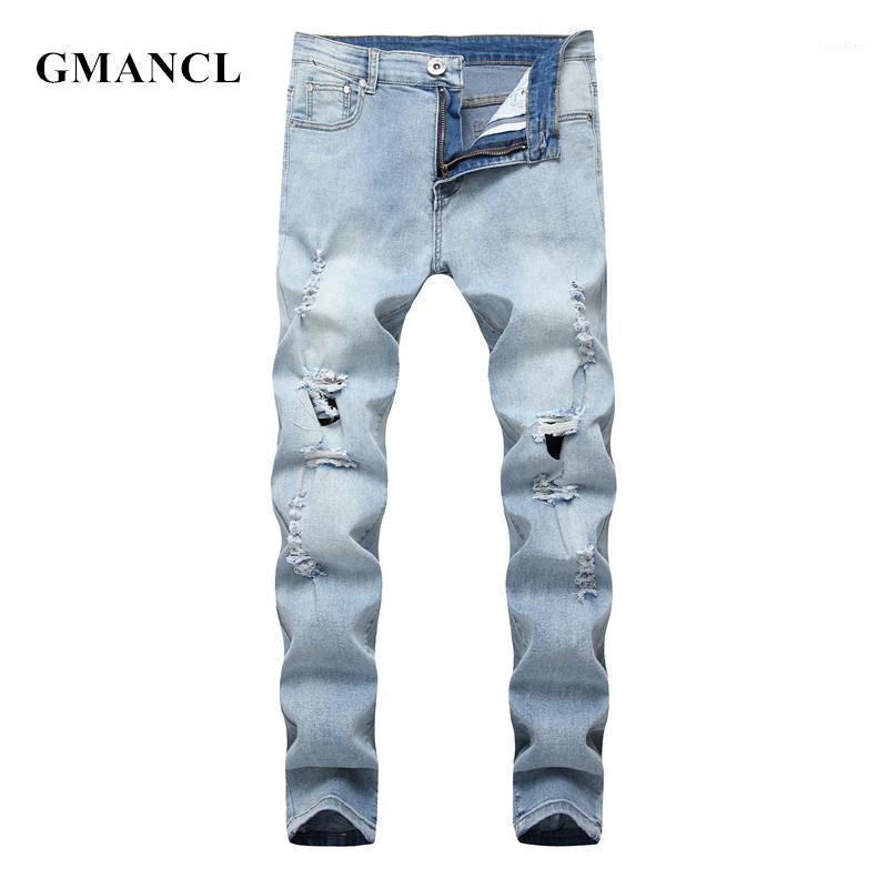 GMANCL Skinny Biker Jeans Moda uomo Abbigliamento da uomo 2020 High Street Hip Hop Solido Solid Maschio Big fori Distruggi Joggers mendicante Denim Pants1