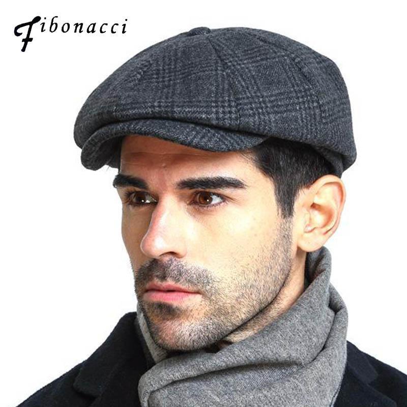 Fibonacci 2020 Nova marca de qualidade de lã xadrez beret chapéus para homens bonés outono inverno pai jornaleiro chapéu