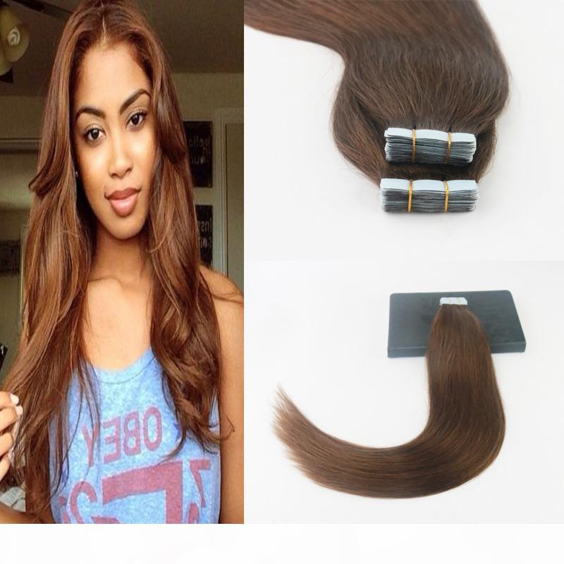 Tape dans les extensions de cheveux Cheveux humains 14-24inch 50g Pack 20pcs Souffe de peau sans soudure Remy Cheveux droits 2 # 4 # brun foncé