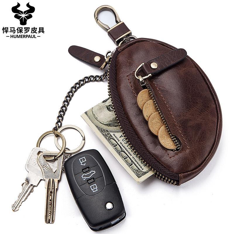 Humberpaul Genuine Pelle Pelle Portatile Borsa Uomini Breve Mini Portafoglio Key Bag Zipper Split Car Key Borsa Borsa Caso Keyeper Caso Piccolo