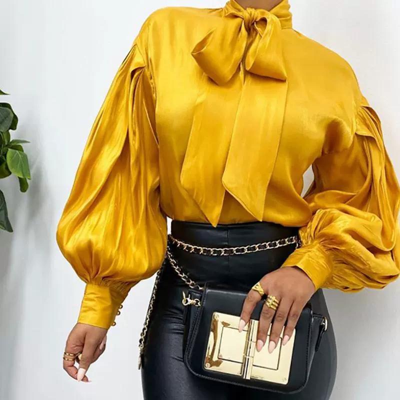 2020 Женщины Мода Женский Повседневная Офис Польза Turtleneck Сатин Блуза Рубашка Красный Винтаж Длинные Рукава Блузка Топы Весна