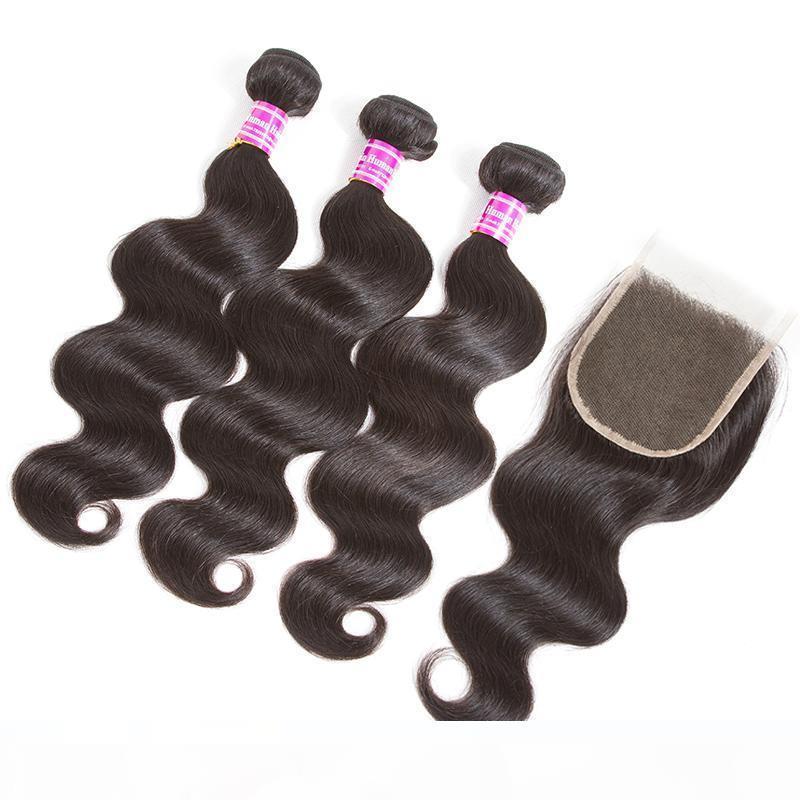 kapatma 3bundle gövdeli 8A Brezilyalı bakire saç uzatma 4x4 orta serbest kısmı dantel kapatılması ile düz örgü dalga 10- 22inch