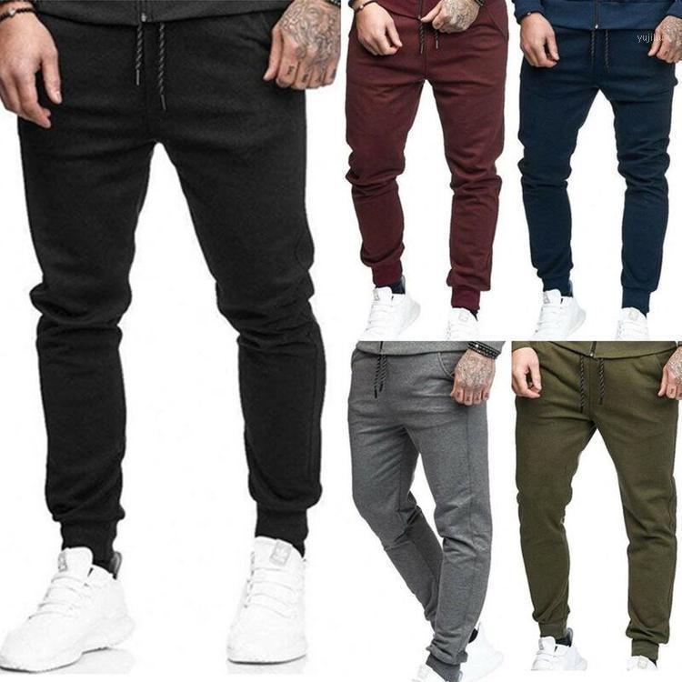Koşu Pantolon Katı Renk 3XL Koşu Erkekler Rahat Skinny Lace Up Fitness Spor Uzun Pantolon Erkek Egzersiz Spor Sweatpants1