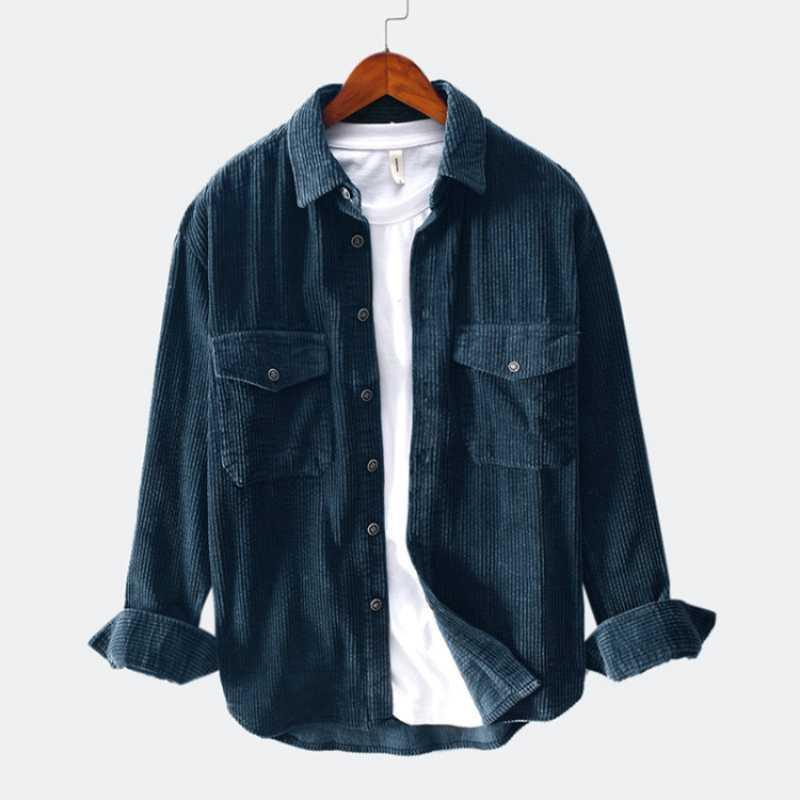 Men 2021 Spring And Autumn Fashion Brand Japan Style Vintage Slim Fit Corduroy Shirt Male Casual Loose Shirt Cloth1