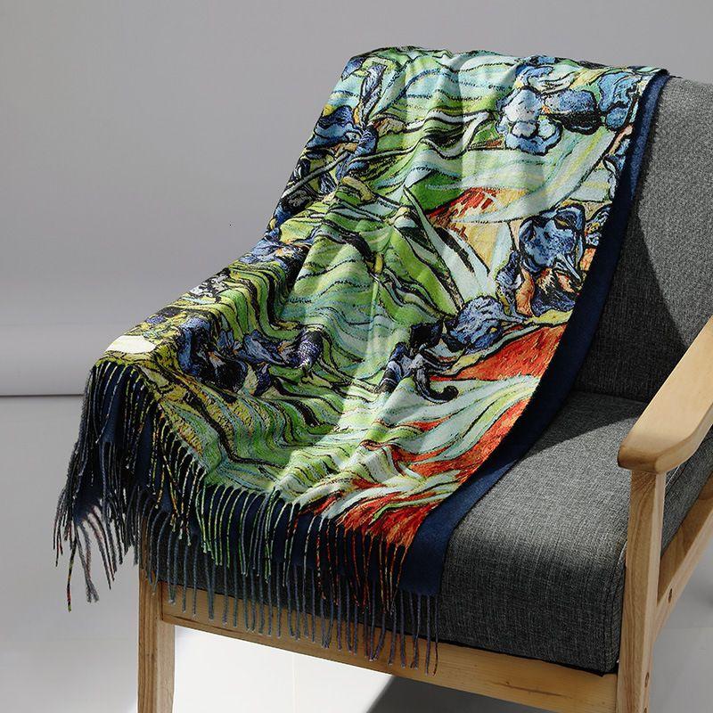 Primavera Digneer Nuove Donne Inverno Cashmere Sciarpa Sciarpa Scialle Digitale Scialle dipinto Van Gogh Pittura a olio Pashmina Ladi Coperta Sciarpa