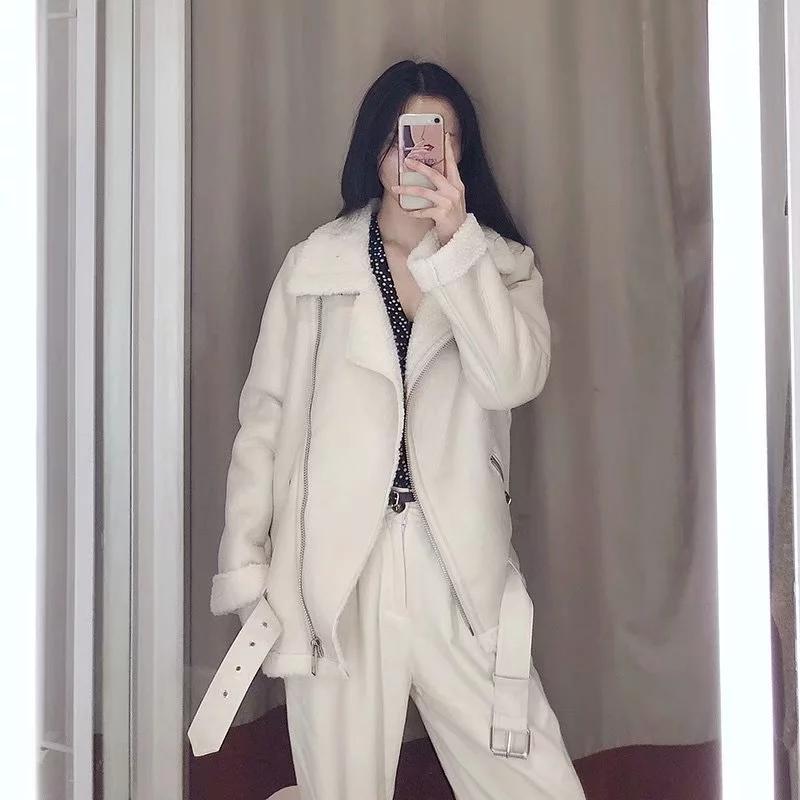 Faux de cuero femenino Ailgogo Otoño Invierno Mujer Chaqueta Chaqueta Streetwear Grosor Sheepskin Female Fool Abrigo con ropa Outwear