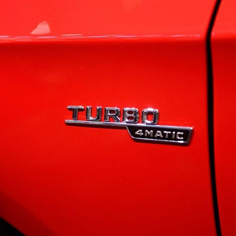 3D Matte For AMG Stickers Car Trunk Rear Letters Fender Sides Badge Emblem Emblems Badges For Mercedes Amg Benz TURBO AMG Logo