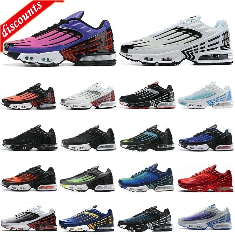 Laser Blue Mens TN 3 girato Scarpe da corsa Hyper Violet TN Plus 3 III Triple Triple Black Silver Tiger Womens Womens Trainer Sneakers Chaussures 36-45