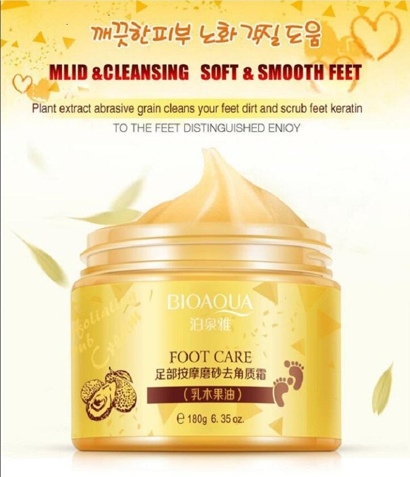 Bioaqua Shea масло для ног крем для пилинга отшелушивающая уход за ногами массаж крем для отбеливания увлажнения увлажняющие ноги спа малыша ноги