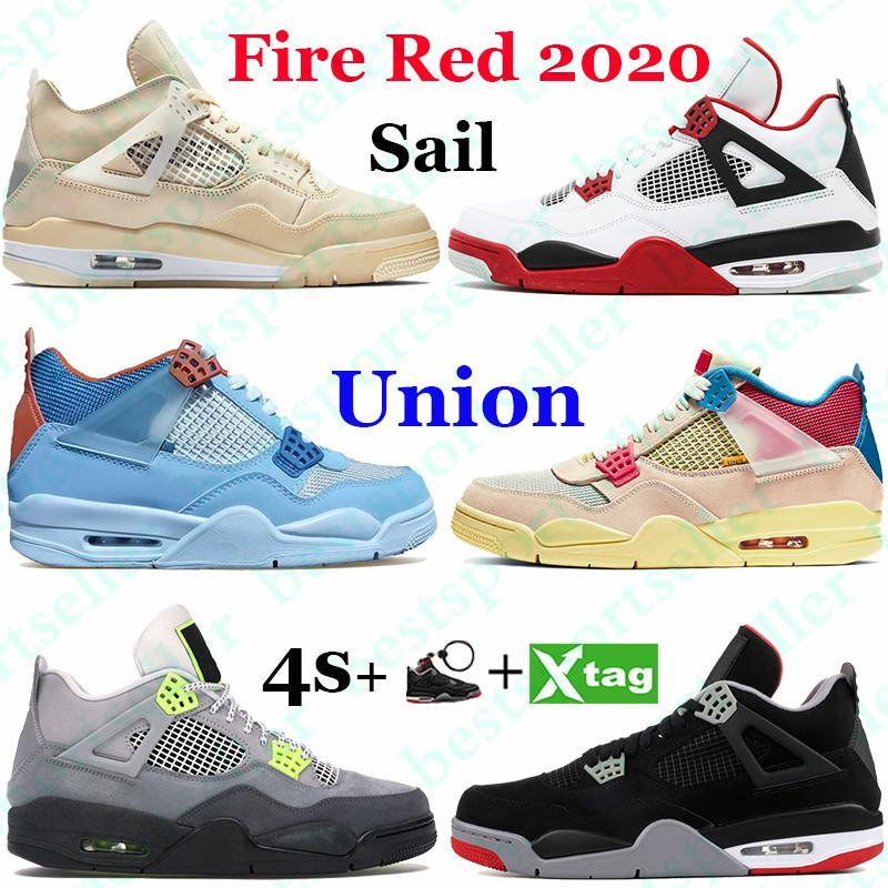 Yüksek Jumpman 4 4 S Yangın Kırmızı Erkekler Basketbol Ayakkabıları Beyaz X Yelkenli Birlik Union Noir Neon Metalik Mor Siyah Kedi Koşu Sneakers Eğitmenler