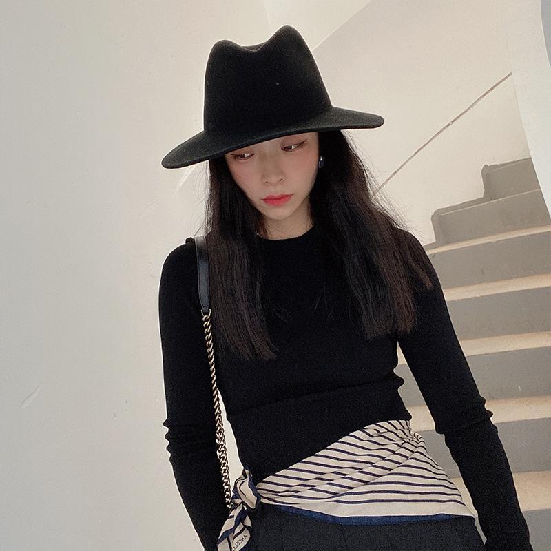 INS Marka Yeni Moda Yün Havzası Balıkçının Şapkası Sonbahar Ve Kış Kadınlar için Casual Basit ve Çok Yönlü Keçe şapka Klwe