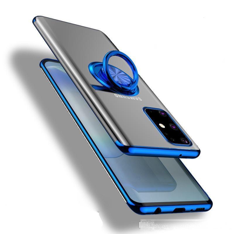 Samsung S20 Artı Metal Galvanik Yumuşak TPU Cep Telefonu Kılıfı Ile Halka Tutucu Ile Samsung S20 Ultra Samsug S20 Telefon Kapak Için