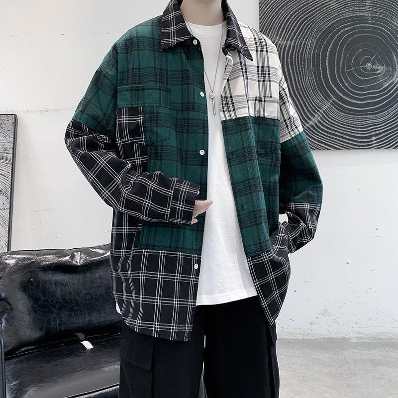 2021 Yeni Privathinker Ekose Patchwork erkek Fazla Bluz Harajuku Erkekler Rahat Uzun Kollu Gömlek Streetwear Giyim Hip Hop Tops 1i8x