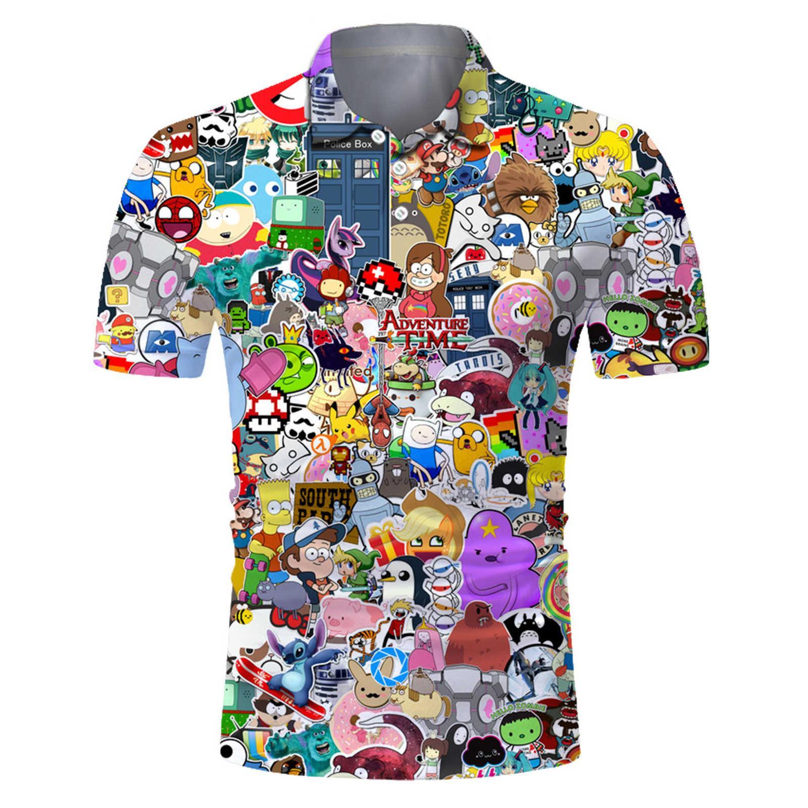 2021 New Polo Shirt 3D Stampa digitale manica corta a maniche corte allentata T-shirt a risvolto rapido Asciugatura T-shirt PO154