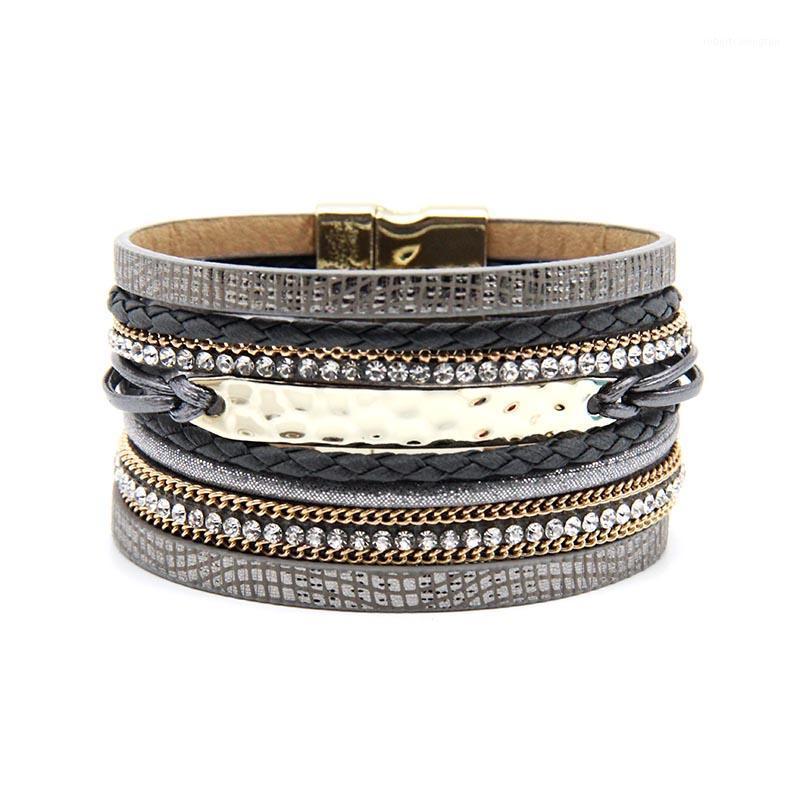 Cuff inteiro Vendazg chega moda jóias cinza e kahki cor mulheres pulseira com bracelete magnético de ouro1