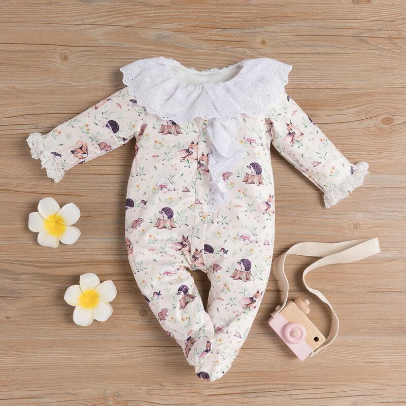 0-24M Newborn Baby Girl Wrap Footies Sumpsuit Lace Doll Colllar Lindo Dibujos animados Animal Princess Ropa Niña Niña Playsuit 201216