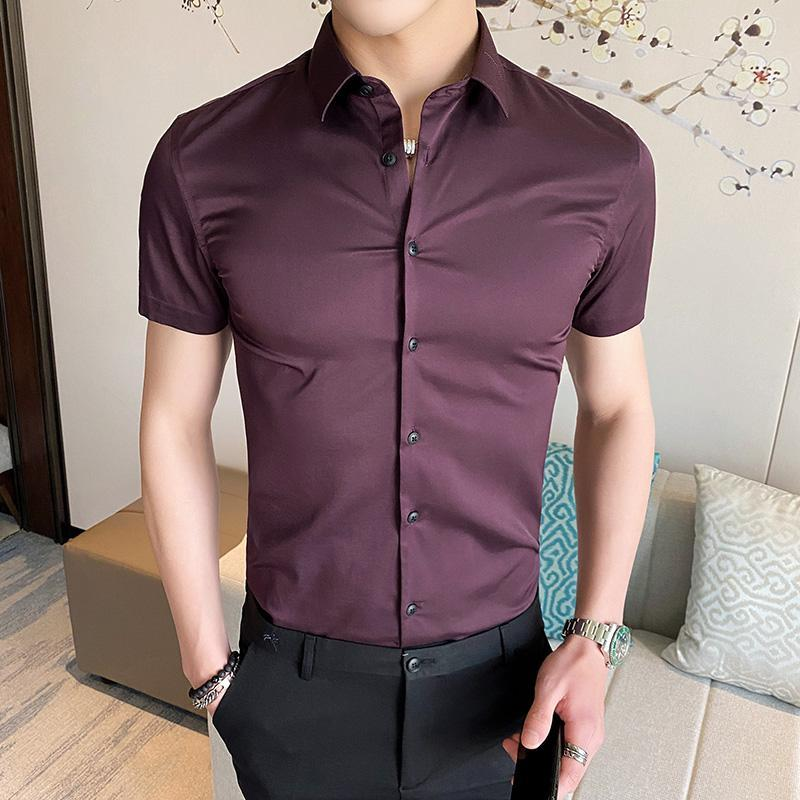 Men's Casual Shirts Short Sleeve Shirt Man Summer Business Office Formal Basic Style Male Solid Color Blouses Tops