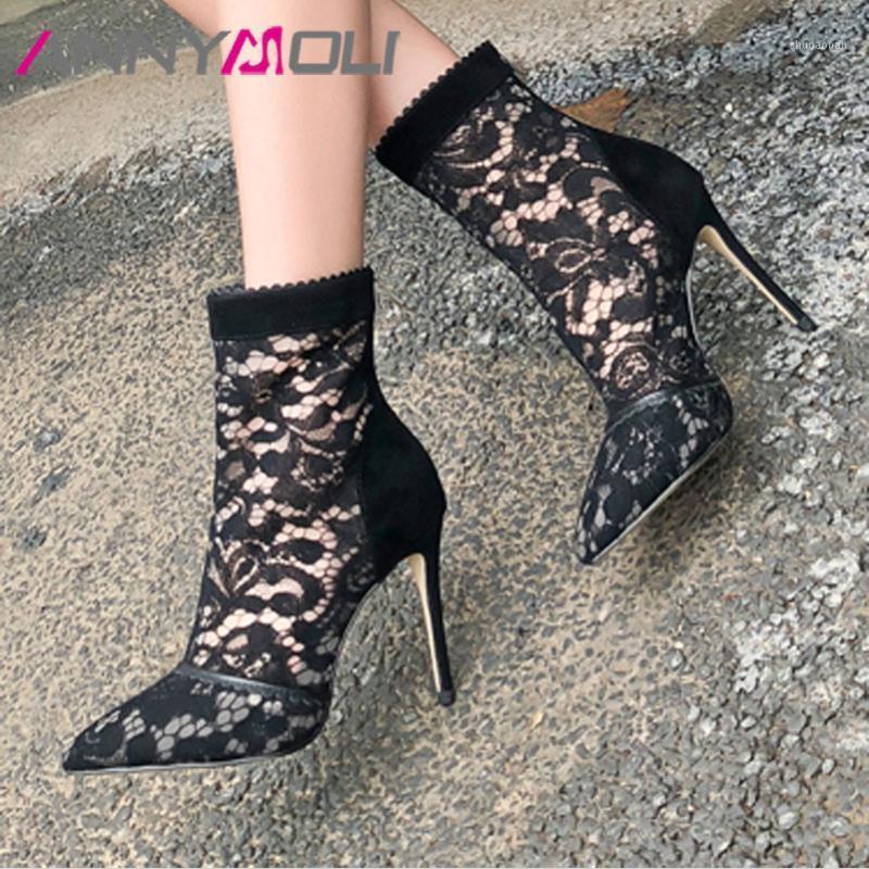 Annymoli Yaz Ayak Bileği Çizmeler Kadın İnek Süet Fermuar Stiletto Yüksek Topuklu Kısa Çizmeler Seksi Mesh Kesme Sivri Burun Ayakkabı Lady Fall1