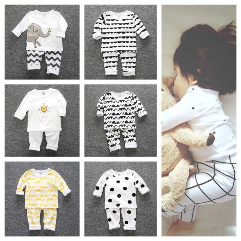 Дети Autum Winter Pajamas Sets Ins ins дети мальчик девушки малышей домашняя одежда из две части одежда хлопчатобумажная футболка футболки брюки наряды G12802