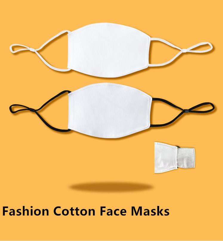 Kids Kids Blank S التسامي الوجه أقنعة مع جيب مرشح يمكن وضع PM2.5 طوقا قابلة للتعديل قناع القطن النظير لنقل الطباعة FY0080