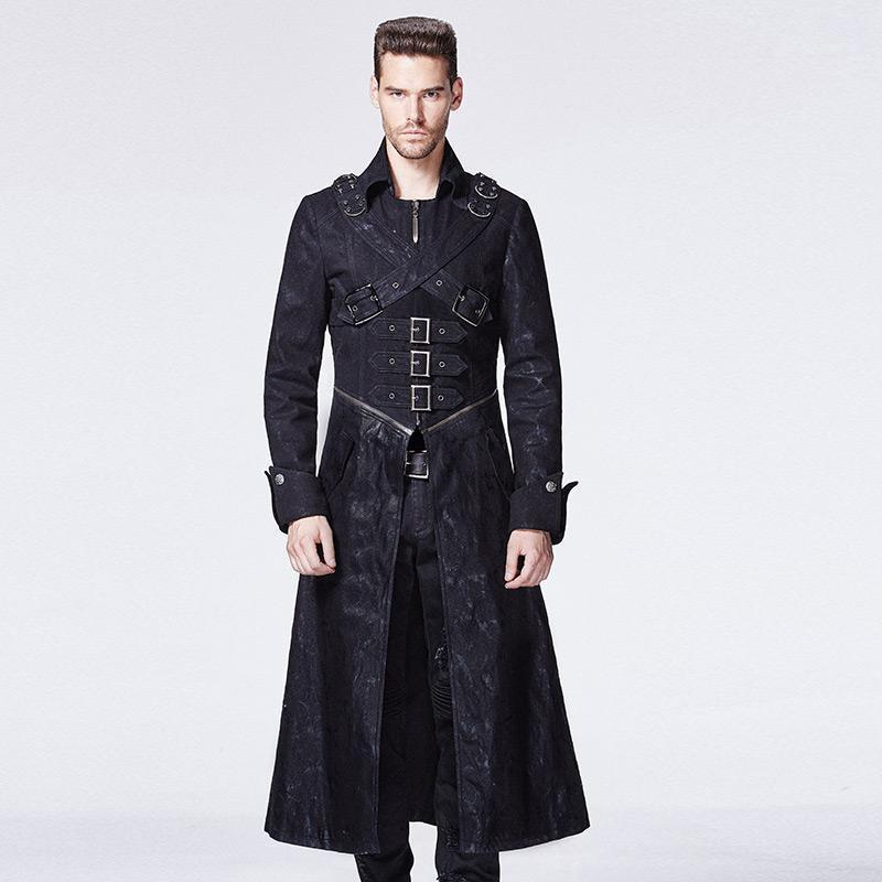 Оптом- Punk Products Готическая куртка Вилка пряжка Средние длинные мужчины Верхняя одежда POOT1 мужские куртки