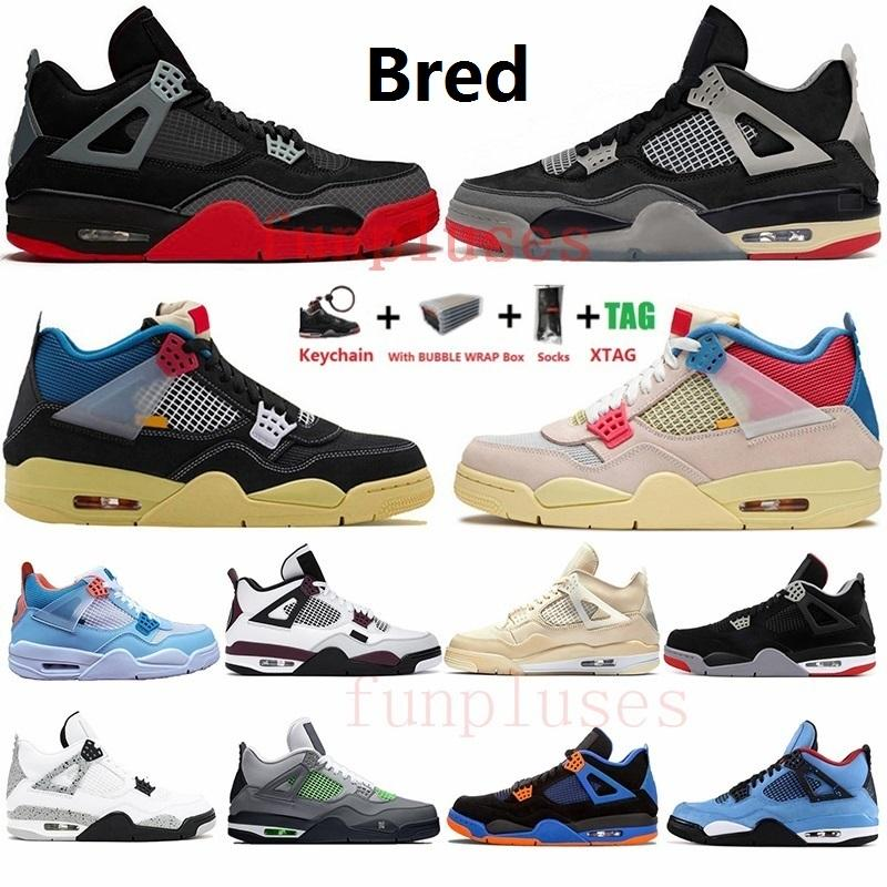 With Box White Bred Sail Cactus Jack Noir Guava Ice 4s Mens Basketball Shoes Jumpman 4 Black Cat What The Womens Trainers Sneakers
