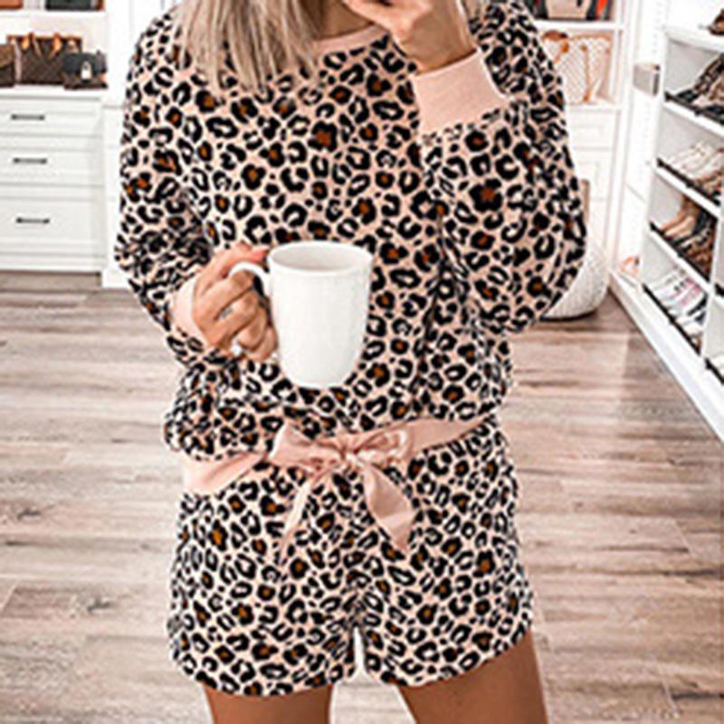 Leopard Stampa Sleepwear Delle Donne Donne Primavera Estate Manica Lunga Femminile Pigiama Set Moda Interno Sciolto Due pezzi Loungewear Nightwear 201031