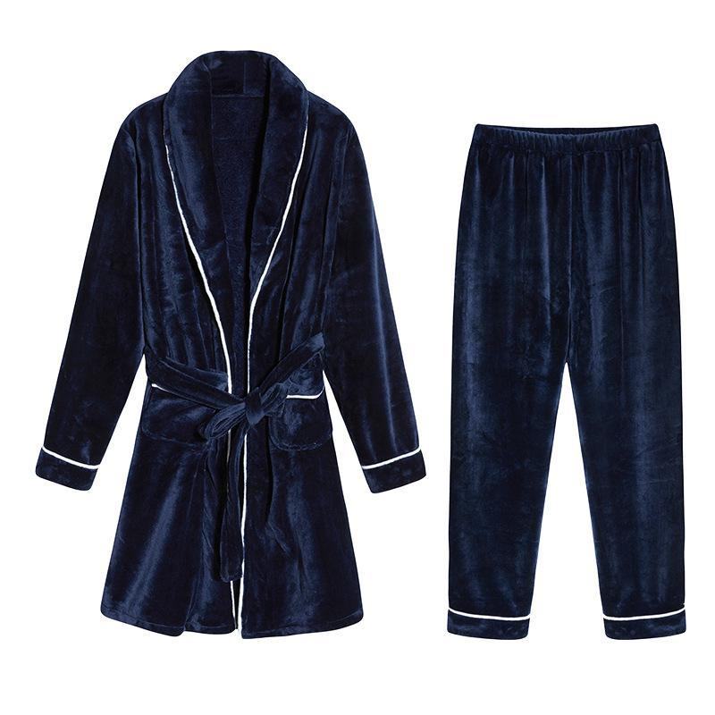 Winter Flanell Robe Hosen Set Nightgown Männer Verdickte Warme Flauschige Pyjamas Korallen Fleece Home Kleidung Nachtwäsche Set Herbst Winter