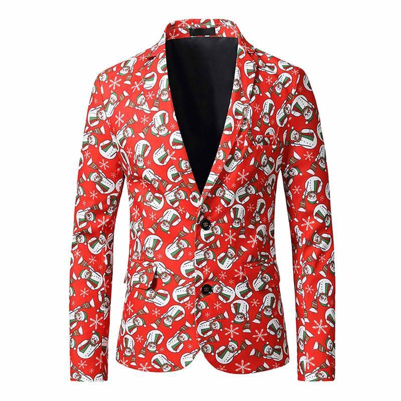 Noel Giyim Erkekler Blazers Nedensel Baskı Noel Baba Akşam Eşleştirme Yenilik Suits Blazers Slim Fit 3D Noel Ceketler