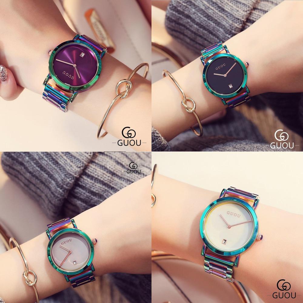 Guou Women's Watches Colorido Montre Femme 2019 Senhoras Assista Pulseira Relógios para Mulheres Relógio Mulheres Calendário Reloj Mujer Saat J1205