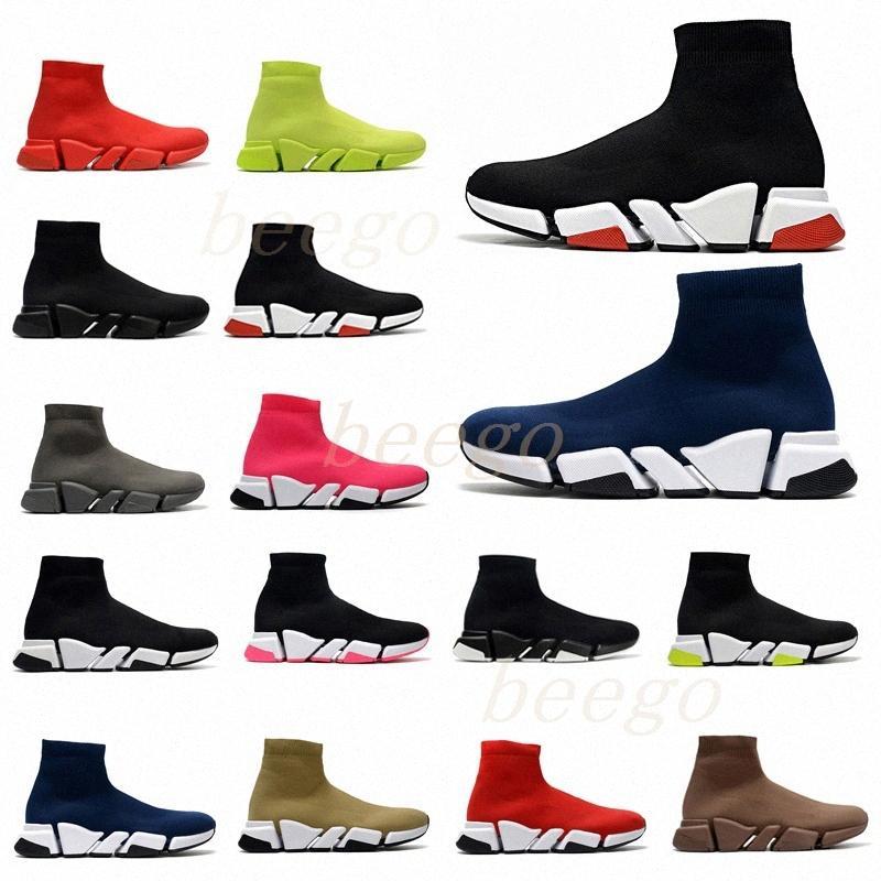 [AVEC BOX] 2021 Homme de concepteur Femmes Speed Trainer 2.0 2 Chaussettes Bottes Chaussettes Boot Chaussures Casual Chaussures Femme Runners Sneakers 36-45 VDB7 #