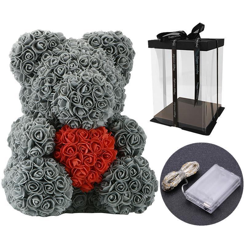 40 cm Lovely Bear of Roses con scatola regalo a LED Teddy Bear Rose Sapone in schiuma di sapone Flower Regali di Capodanno artificiale per il regalo di San Valentino BBYSQYM