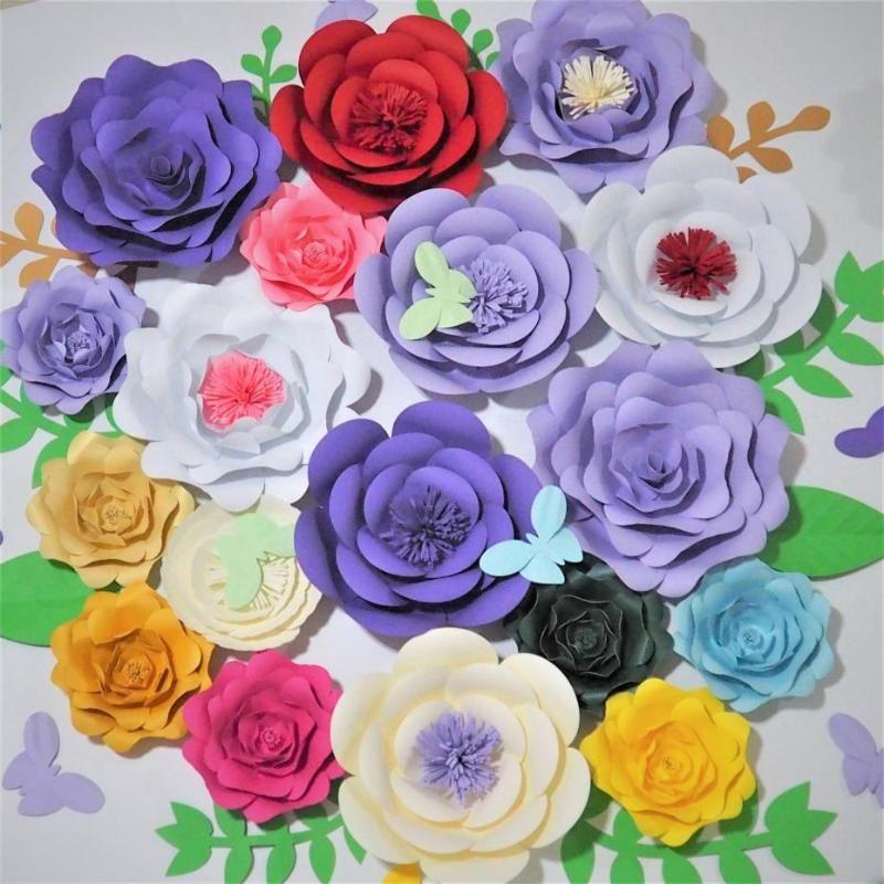2020 أحدث 18 ورقة الزهور العملاقة + 9 فراشة + 10 أوراق فتاة حزب الزفاف ديكور صور بوث خلفية الزفاف الخلفيات