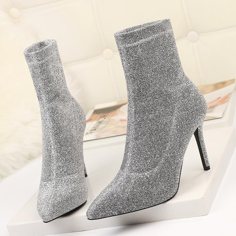 2019 new famous sequined ankle boots women pointed toe glitter high heels winter booties bling silver botas mujer big size 301