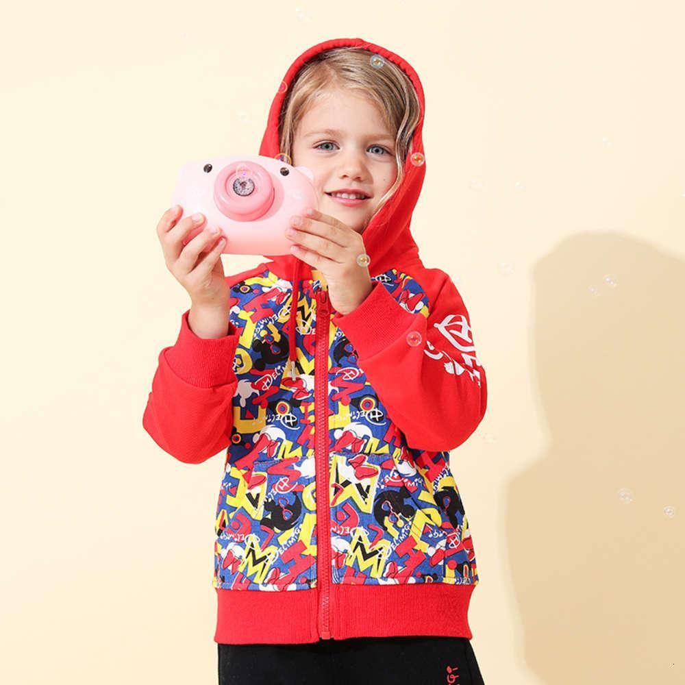 Niños Chicas con cremallera Cardigan Long Spring Sve Sport Sport Imprimir Tendencia Abrigo de los niños
