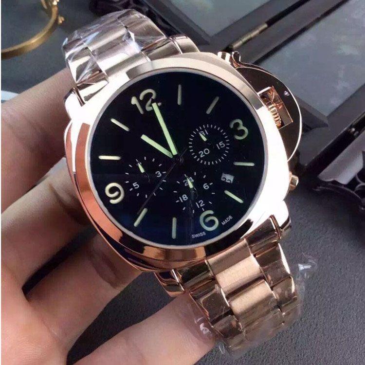 Yeni 2021 Lüks Erkek Saatler Moda Tasarımcısı Saatler Askeri Kuvars Spor İzle Paslanmaz Çelik İşlevli Saatler Reloj de Lujo