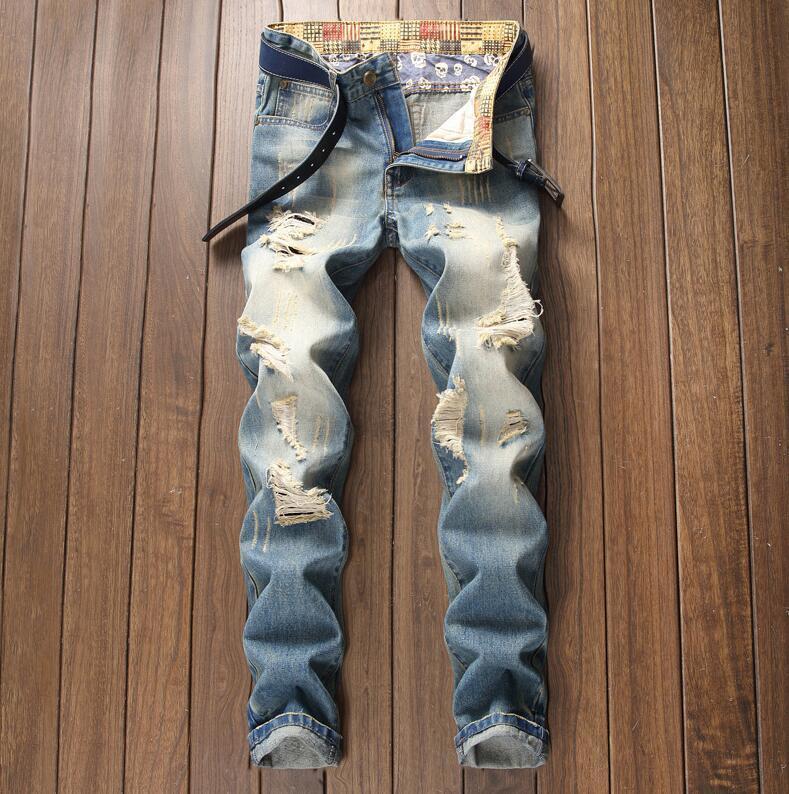 Pantalons de design original Nouveau style européen de style américain Gratuit HOT HOT JEANS DROITS MASCULINO Hommes Pantalons sans bombes