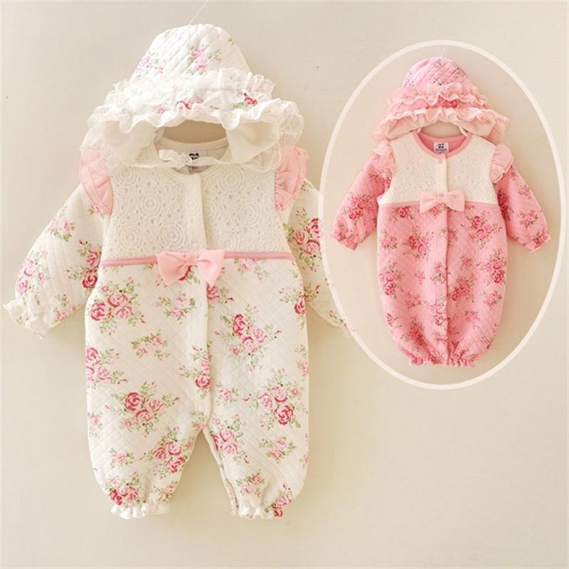 новорожденный девочка одежда 0 3-9 месяцев старинного цветочного хлопка кружева рябить младенец ползунков весны девочки комбинезона набора дня рождения 201117