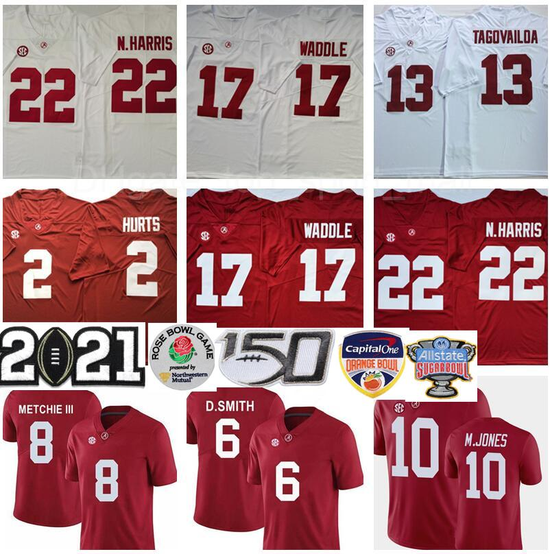 2021 NCAA Playoff alabama carmesim maré najee harris jersey mac jones tua tuavailoa jalen dói jaylen waddle devona smith henry futebol