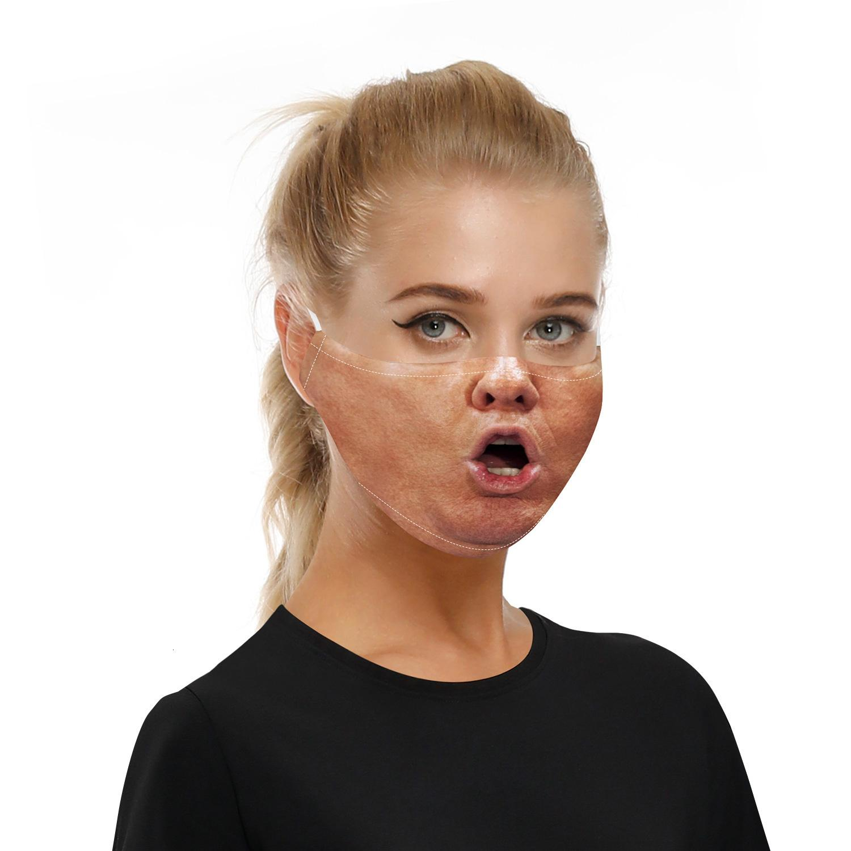 3D дизайнер гримаса лица мода мода типография маски многоразовые защитные PM2.5 фильтры стирки