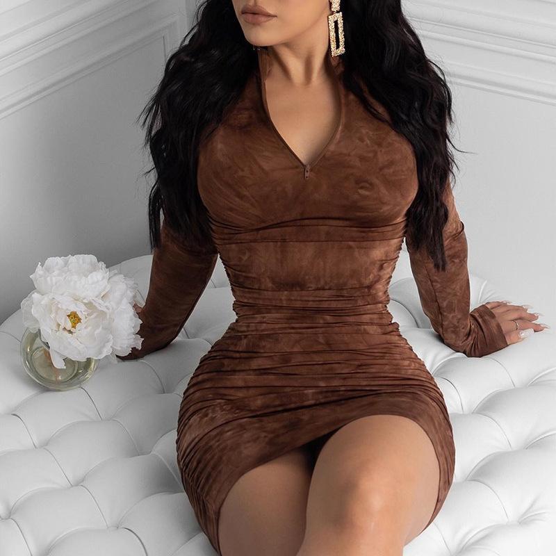 Womens S-5XL Veränderbarer Hals Elastisches gedrucktes Kleid Eleganter dünner Rollkragen Langarm Lange Maxi Mode Reißverschluss Nachtclub Sexy Weibliches Kleid