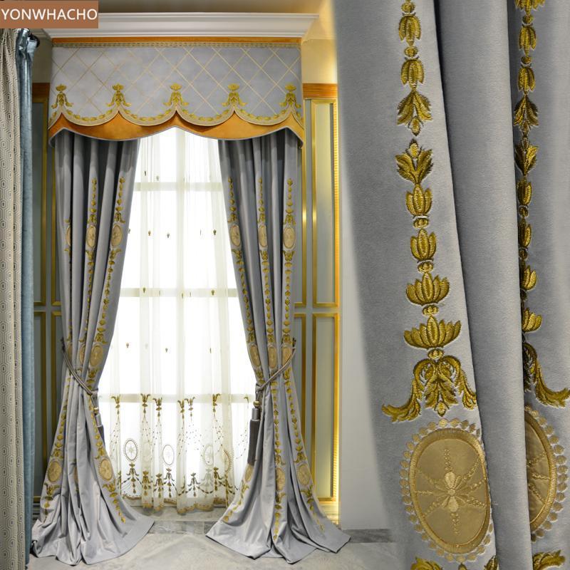 Custom curtains Light luxury European noble bedroom embroidered velvet thick cloth blackout curtain tulle valance drape B667