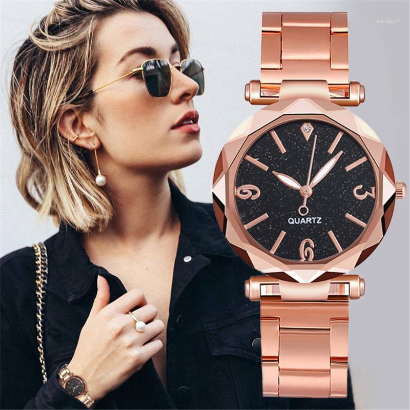 Saatı Üst Marka Saatler Kadınlar Paslanmaz Çelik İzle Kuvars Yıldızlı Gökyüzü Saatler Minimalist Exquisite Relogio Feminino1