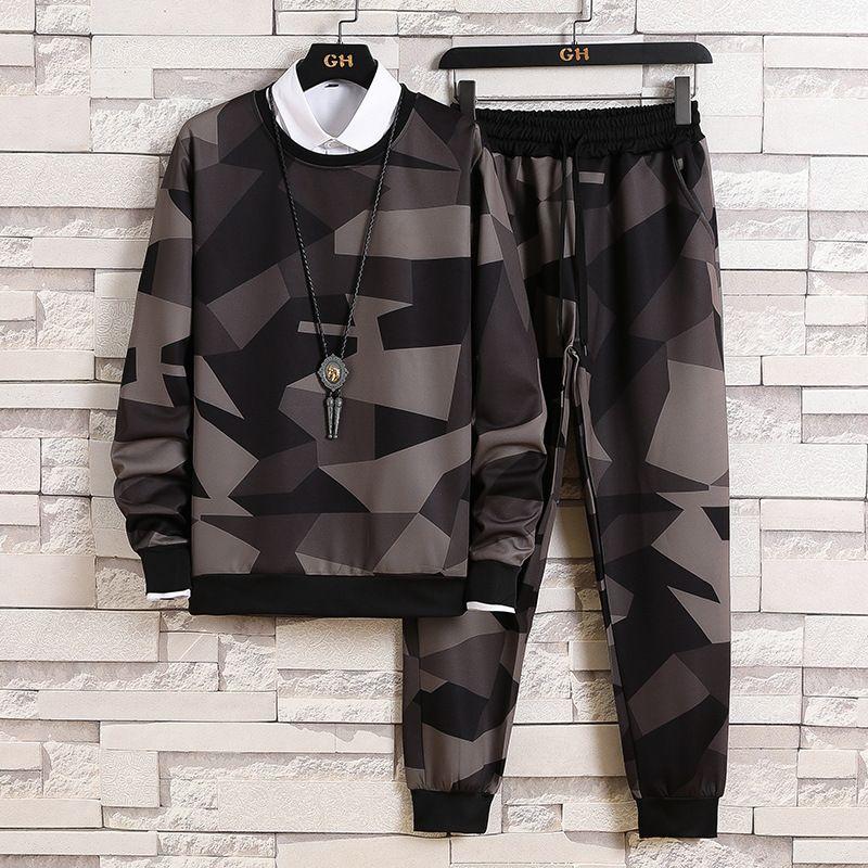 Pull pour hommes Pull d'automne Casual Supplaper Sports coréens Pantalons de Camouflage T-shirt à manches longues pour hommes pour hommes Vêtements d'automne pour hommesRunning