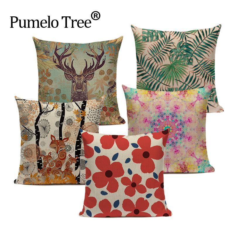 Cojín / almohada decorativa 2021 Geometría Cojín de cojín Cojín de impresión de lino Cojines Decoración para el hogar Hojas tropicales personalizadas Almohadas de tiro al aire libre