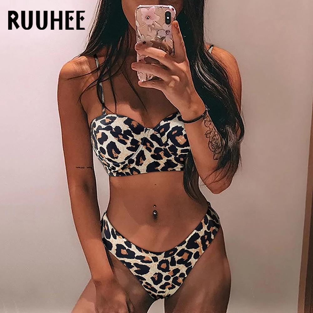 RUUHEE Leopard Bikini Swimwear Women Swimsuit 2020 Brazilian Bikini Set Push Up Bathing Suit Female Summer Beach Wear Biquini J1208